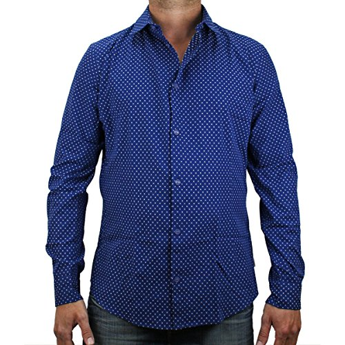 Armani Jeans Allover Spotted Slim-fit L/s Shirt In Navy