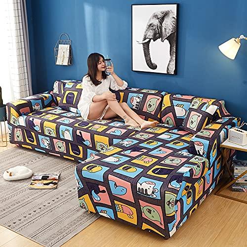 WXQY Fundas de impresión 3D Fundas de sofá elásticas elásticas Protección para Mascotas Funda de sofá Esquina en Forma de L Funda de sofá Todo Incluido A5 4 plazas