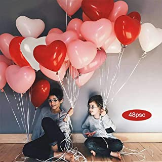 Heart Shape Latex Balloons for Valentines Day,Propose Marriage,Wedding Party(White+Red +Pink)3 Style, (12Inch 48pcs)