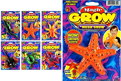 JA-RU Magic Grow Sea Creatures (6 Units Assorted) Grows Over 300% The Size. Water Growing Toy for Kids & Adults. Party Favors. 302-6A
