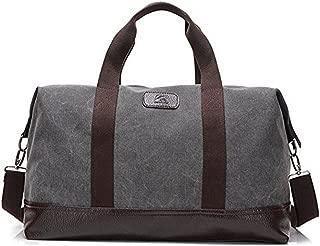 Travel Duffle Bag Canvas Leather Gym Weekend Bag (Grey)