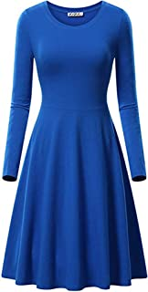 Soluo Women's Long Sleeve Casual Swing T-Shirt Dresses Simple Designed Round Neck Flared Dress Summer Shirt