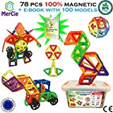 Blocs construction magnétiques| 78 pièces + ebook 100 modèles| Briques aimantées grande taille sans lettres avec boite de rangement plastique| Super cadeau créatif pour garçons et filles de 3 ans et +