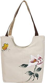 Bolso de mano de lona con diseño floral
