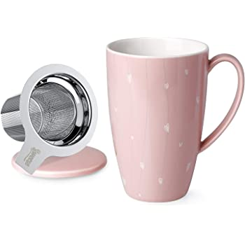 Sweese 201.154 Porcelain Tea Mug with Infuser and Lid, 15 OZ, Pink Heart