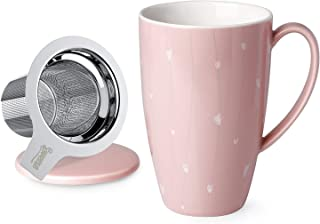 Sweese 201.228 Porcelain Tea Mug with Infuser and Lid, 15 OZ, Pink Heart