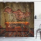 Ambesonne Fantasy Shower Curtain, Decadence Grunge Ruin Brick Wall and a Giant Lizard on The Sofa Surreal Art, Cloth Fabric Bathroom Decor Set with Hooks, 75' Long, Vermilion Umber