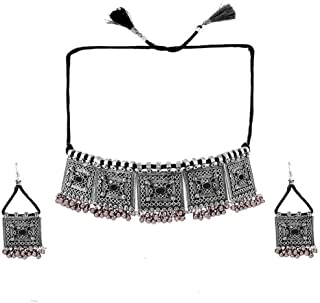 Yellow Chimes German Silver Oxidised Afghani Style Meenakari Touch Ghungroo Threads Choker Necklace Set by Yellow Chimes J...