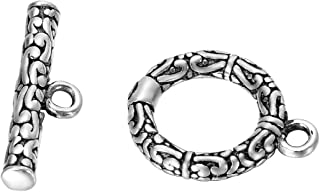 VALYRIA 1 Set 925 Sterling Silver Autique Silver Retro Toggle Clasp 15mmx12mm 17mmx5mm