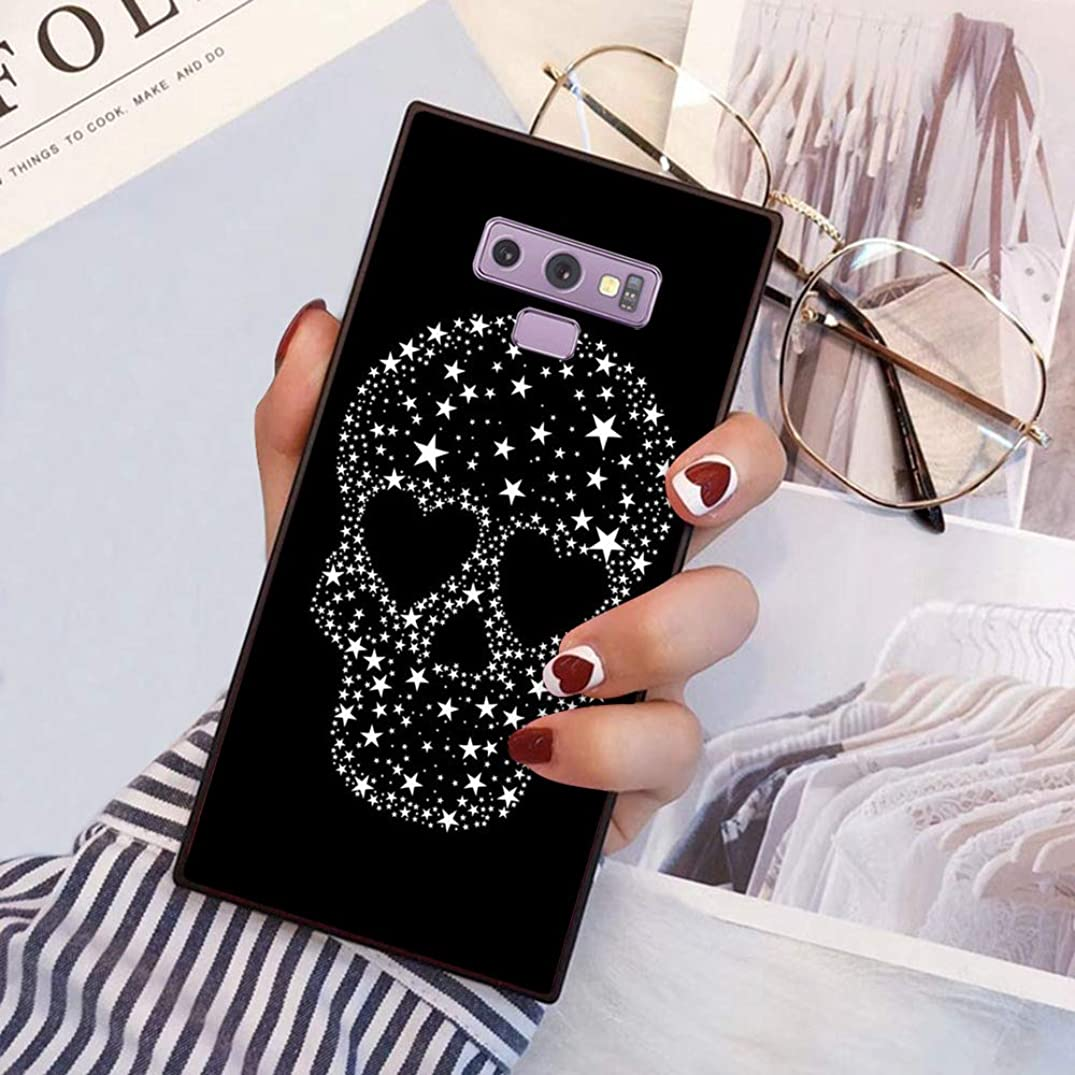 Square Glitter Pentagram Skull Samsung Galaxy Note 9 Case, JQLOVE All-Inclusive Full-Body Shockproof Protective Phone Cover, Case for Samsung Galaxy Note 9 Glitter Pentagram Skull