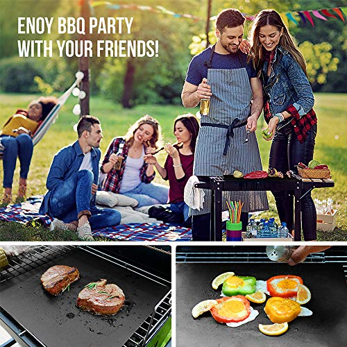 Grill Mat 2 Packs - 100% Non-Stick BBQ Grill Mats Oven Liners for Grill Accessories, Heavy Duty, Reusable, and Easy to Clean - Works on Electric Grill Gas Charcoal BBQ (Black)