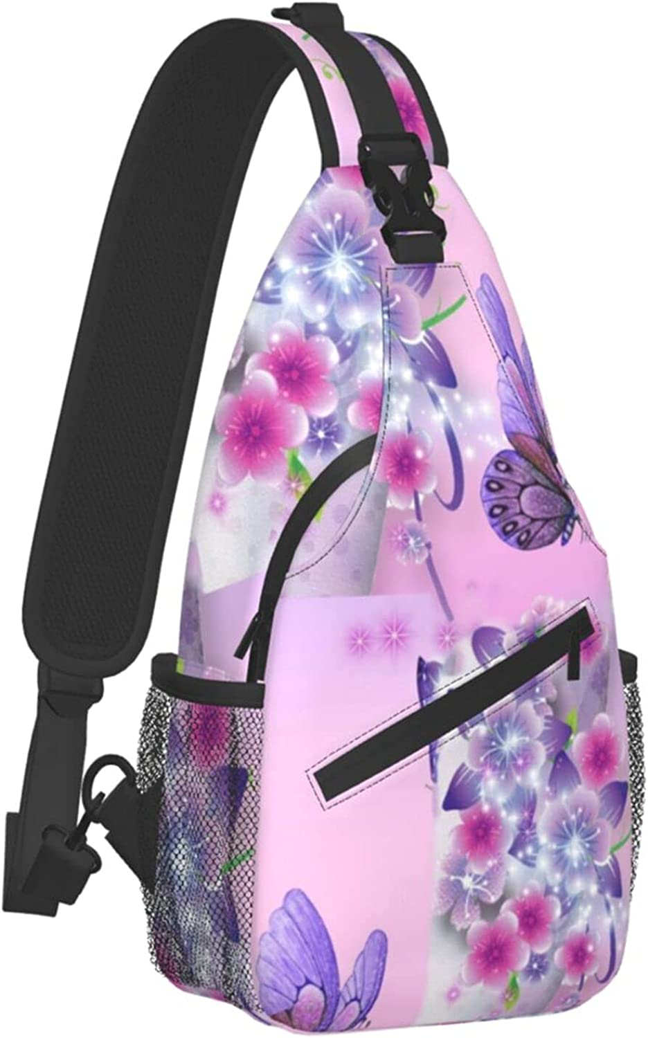 Sling Bags For Special price for a limited Cheap mail order shopping time Boys Girls Large Butterflies Purple Capac Flowers