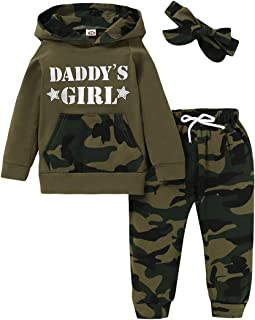 Sponsored Ad - 3Pcs Baby Girls Clothes Long Sleeve Hoodie Sweatshirt Cute Floral Pants with Headband Outfit Sets