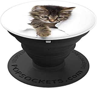 Cute Kitten Breaking Through Paper Wall On White - PopSockets Grip and Stand for Phones and Tablets