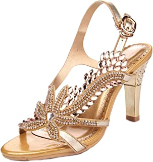 4c5c7a6efc1 YooPrettyz Women Open Toe Shoe Glittery Crystals Dress Sandal Ankle Strap  Leather Sandal