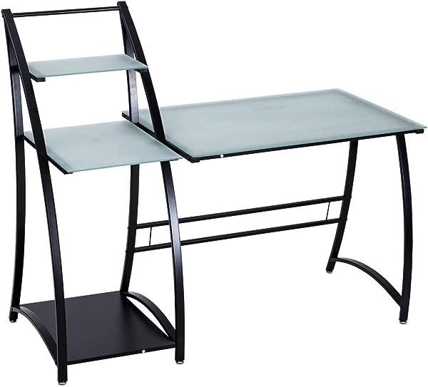 玻璃顶写作研究电脑桌与搁板现代风格坚固的时尚设计