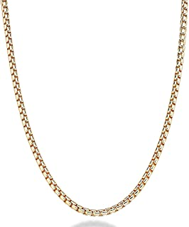 """Fine 18k Round Box Chain style Pendant Gold Men Women necklace Jewelry Thin for charms, solid clasp (22"""")"""