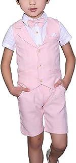 Yilaku Toddler Boys Summer Suits Set Vest + Pants + Shirt + Bow Tie 4 Pieces Plaid Shirt Clothing Set
