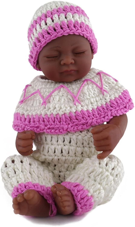 YIHANGG Schwarze Haut Reborn Baby Puppen Handgemachte Realistische Silikon Vinyl Baby Puppe Weiche Simulation 11 Zoll Augen Geschlossen Kinder Lieblings Geschenk