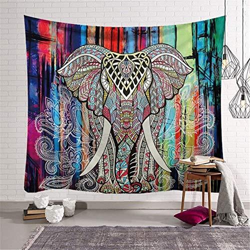 Tapiz Nueva Arte Mandala Colgar Pared Tapices Mandala de elefante coloridoétnico decoración Pared Manta ligero poliéster para Manta Picnic alfombrilla yoga toalla playa mantel -tapestry,150x230cm