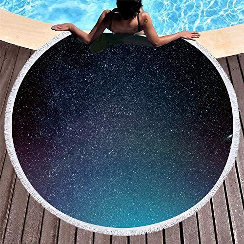 3D Sky Starry Sky Galaxy Star Toalla Playa Redonda Toalla Baño Borlas 60 Pulgadas Manta Azul Negro Morado Alfombra Roja Falda en Rollo Toalla de Sauna (A2,150x150 cm 60 Pulgadas)