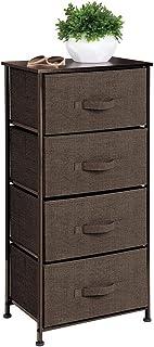 mDesign Vertical Dresser Storage Tower - Sturdy Steel Frame, Wood Top, Easy Pull Fabric Bins - Organizer Unit for Bedroom, Hallway, Entryway, Closets - Textured Print - 4 Drawers - Espresso/Dark Brown