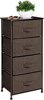 mDesign Vertical Dresser Storage Tower - Sturdy Steel Frame, Wood Top, Easy Pull Fabric Bins - Organizer Unit for Bedroom, Hallway, Entryway, Closets - Textured Print - 4 Drawers - Espresso/Dark Brown