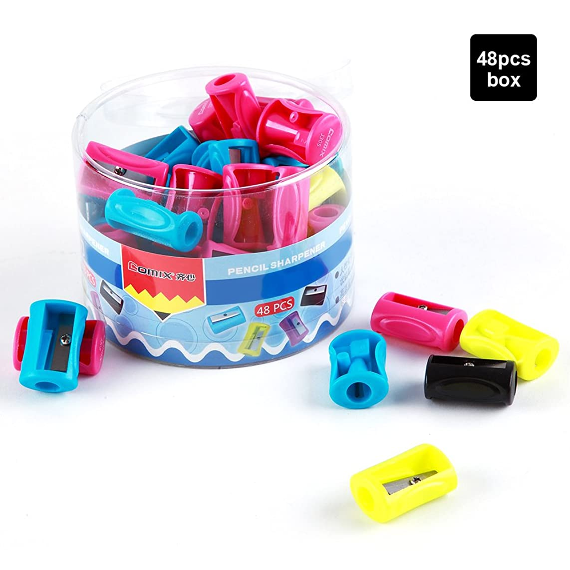 Comix 48 Piece Bulk Colorful Plastic Manual Pencil Sharpener (J305)