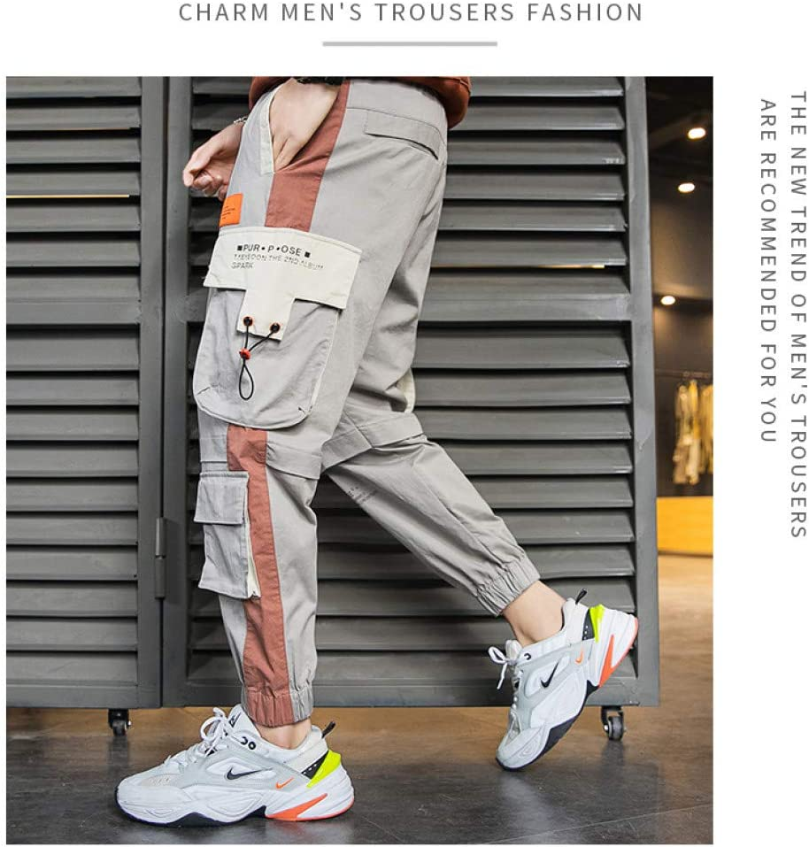 2020 Nouveaux Hommes Multi Poches Cargo Sarouel Hip Hop décontracté Joggers Pantalon Harajuku Streetwear Pantalon L