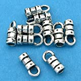 10 Silver Crimp Beads Fancy Cord Ends W Loop 2mm New