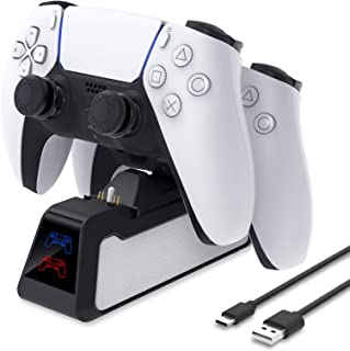 Charger Stand for PS5 DualSense Wireless Controller, MENEEA Controller Fast Dual Charging Dock Station with Thumb Grip, LE...