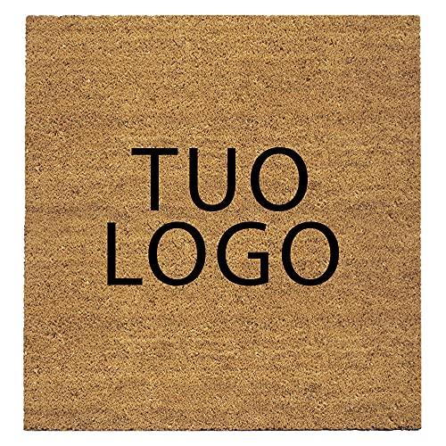 Coco - Felpudo de coco natural con logo impreso y profesional, con base antideslizante, para interior y exterior, a medida (negro, 60 x 85 cm)
