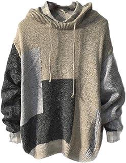 HEFASDM Men Loose Fit Big & Tall Patched Knit Hoodie Hooded Sweatshirt