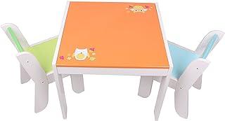 Labebe Meubles Bois, Table Enfants et Chaise ou Bureau Fille - Orange Owl pour 1-5 Ans Bébé, Filles et Garçons, Meuble Enf...