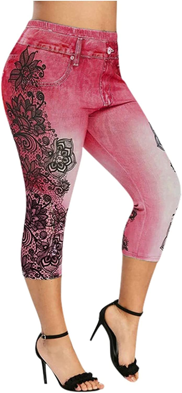 Capri Denim Pants for Women,High Waist Floral Skinny Stretch Denim Jeans Classic Boyfriend Distressed Denim Pants