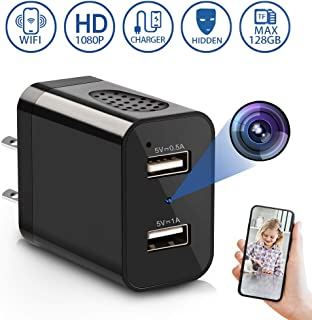 Spy Camera Wireless Hidden, 2019 Newest Version USB Wall Charger Secret Hidden Spy WiFi Camera Nanny Cam with Motion Detection Remote Viewing for Home by LUOHE - Black