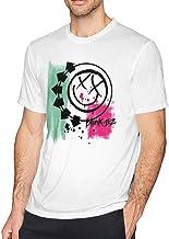 DISINIBITA Men's Popular Blink 182 White T Shirt Fashion Cotton White Short Sleeve Tee