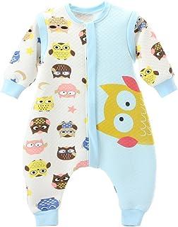 Bebé Saco de dormir Con Cremallera Piernas Separadas Mangas Extraíbles 1.5 Tog,Azul Búho L