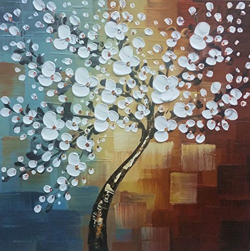 Wieco Art Large Modern Abstract White Flowers Oil Paintings on Canvas Wall Art Morning Glory 100% Hand Painted Floral Gallery Wrapped Artwork for Living Room Bedroom Home Office Decor FL1089-8080