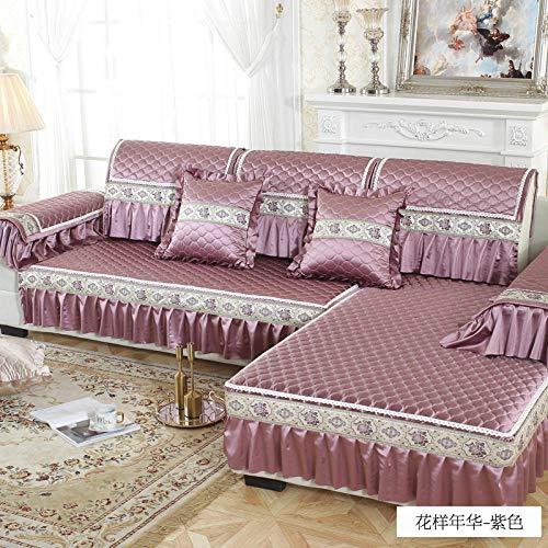 hoes hoekbank, antislipkussen, universele hoes vier seizoenen sofa-purple_90 * 90cm, elastische meubelbeschermer