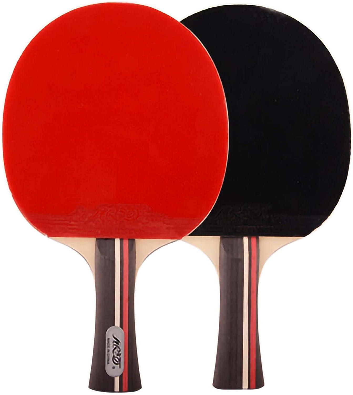HXFENA Palas de Ping Pong,Raquetas de Tenis de Mesa 2 Estrellas Bate de Tenis de Mesa Profesional con Gran Giro Y Control Ideal para NiñOs Adultos,2 Piezas/A/mango largo