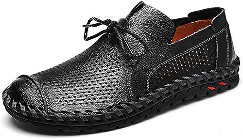 LXYIUN Chaussures de Sport pour Hommes,Creux Mode Flaneurs Chaussures de Pois Chaussures d'affaires,noir,44