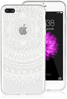 iPhone 7 Plus/iPhone 8 Plus 人気 マンダラパターンケース 背面カバー TPU 透明ケース 軽量 薄型 cover 傷つけ防止 滑り防止 衝撃吸収 防指紋 保護カバー iPhone 7 Plus/iPhone 8 Plus, 白