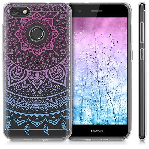 kwmobile Huawei Y6 Pro (2017) / Enjoy 7 Hülle - Handyhülle für Huawei Y6 Pro (2017) / Enjoy 7 - Handy Case in Indische Sonne Design Blau Pink Transparent - 5