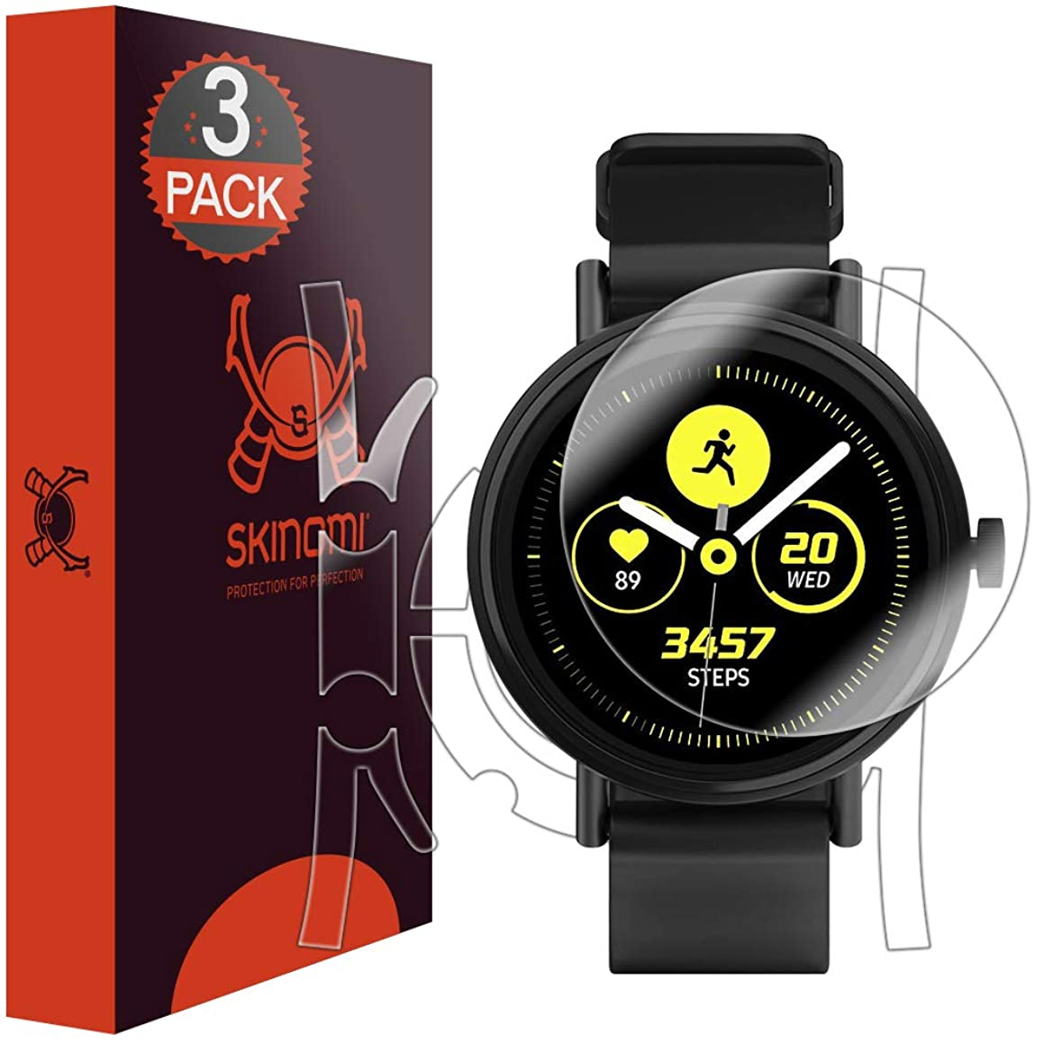 Skinomi Samsung Galaxy Watch Active Screen Protector + Full Body (40mm)[3-Pack], TechSkin Full Coverage Skin + Screen Protector for Samsung Galaxy Watch Active Front & Back Clear HD Film