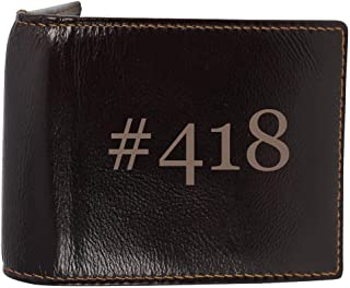 #418 - Genuine Engraved Hashtag Soft Cowhide Bifold Leather Wallet