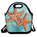 The Sea Shore Original Coastal Painting Colorful Starfish Art Insulated Lunch Bag -...