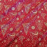 Stoff Meterware Baumwolle rot Gold Ornament Weihnachten