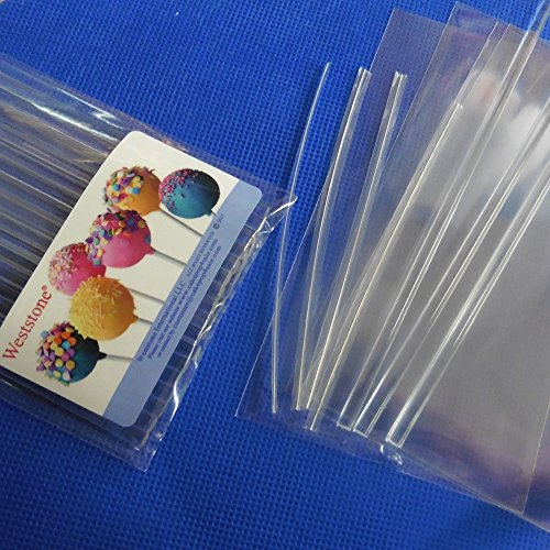 Fantastic Deal! Weststone 50pcs 6 Clear Lollipop Sticks + 50 Poly Bags + 50 Clear Twist Ties for Ca...
