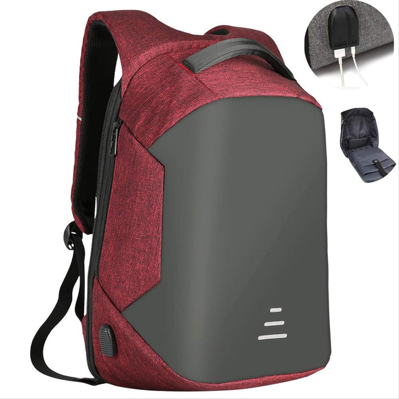 Mnner Rucksack Diebstahl 15,6 Laptop Rucksack Für Mnner Mode Oxford wasserdichte USB Lade Schule Reiserucksack Mnnlich Rot